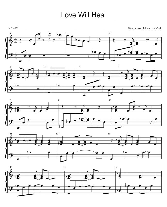 Love WIll Heal - Sheet Music