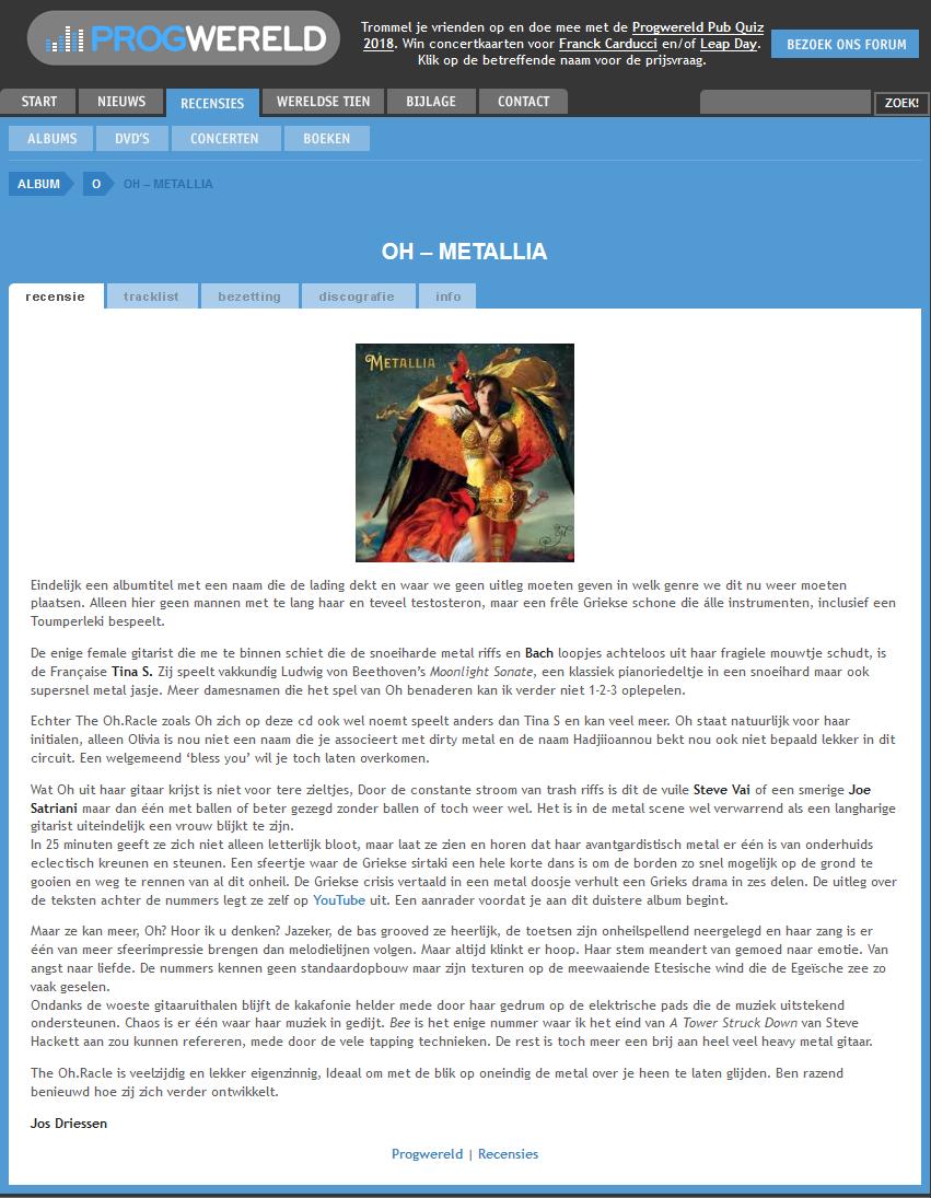 Progwereld - Oh. Metallia - Review