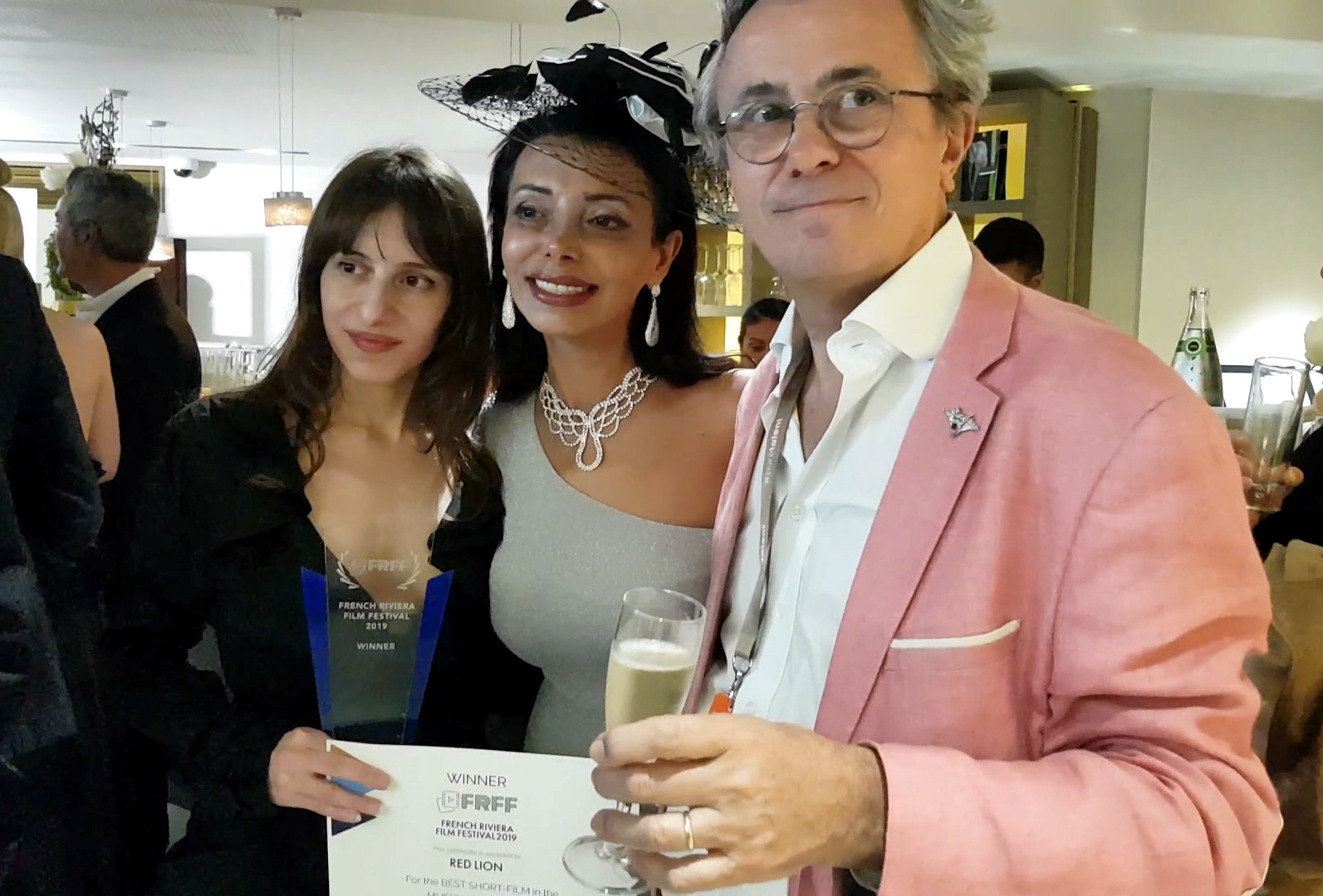 Director Olivia Hadjioannou, Hollywood actress and UK beauty queen Layla Najafe and Bruno Chatelin founder filmfestivals.com at the French Riviera Film Festival in Cannes