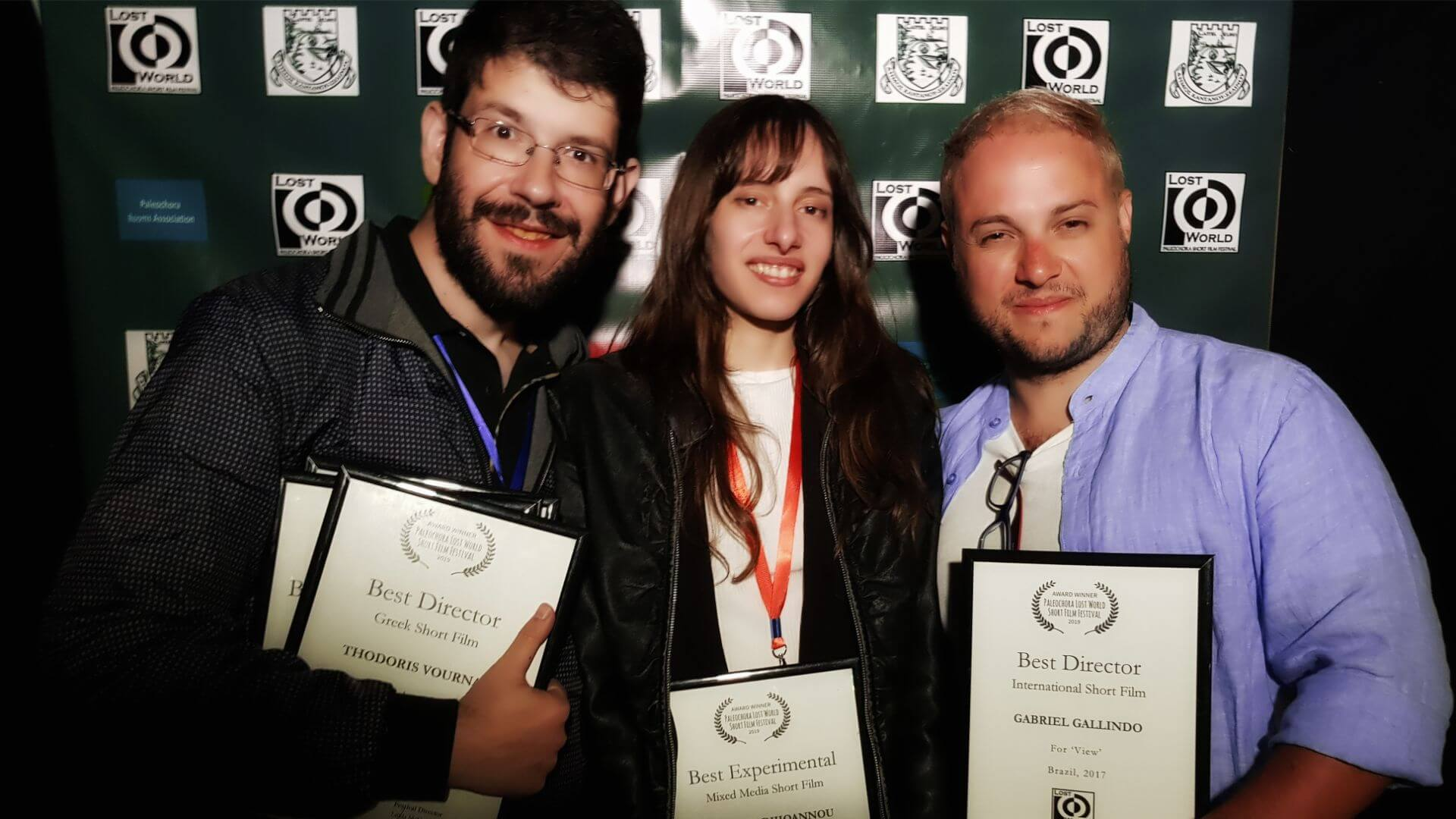 "Olivia Hadjiioannou with Greek director Thodoris Vournas of the short film ""Without Milk"" and Director, Gabriel Gallindo from Brazil of the short film ""View"""