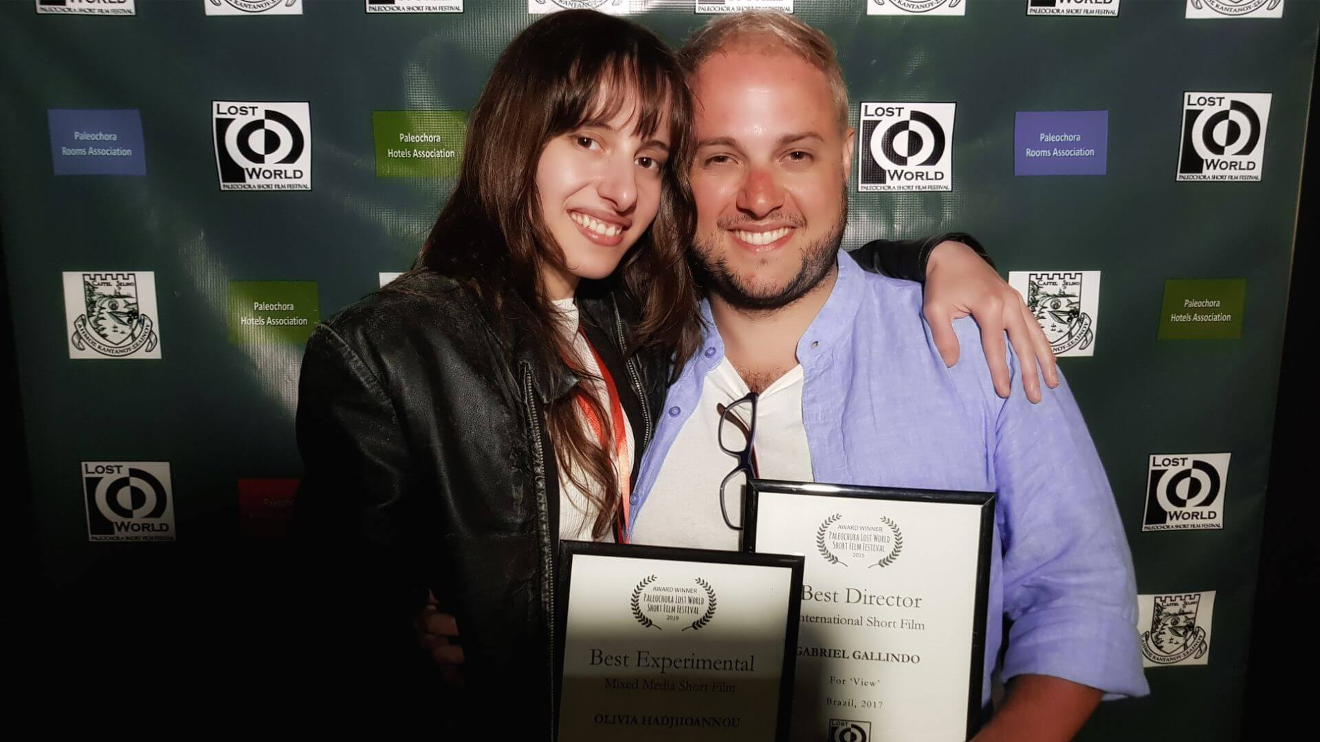 "Olivia Hadjiioannou with Gabriel Gallindo from Brazil of the short film ""View"""