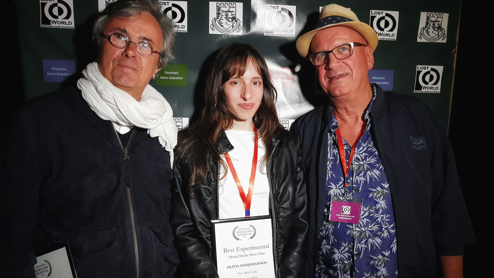 "At the Paleochora Lost World Film Festival with Bruno Chatelin (filmfestivals.com), Olivia Hadjiioannou, (Director ""Red Lion""), Paul McGuirk (Professor of Film & Author)"