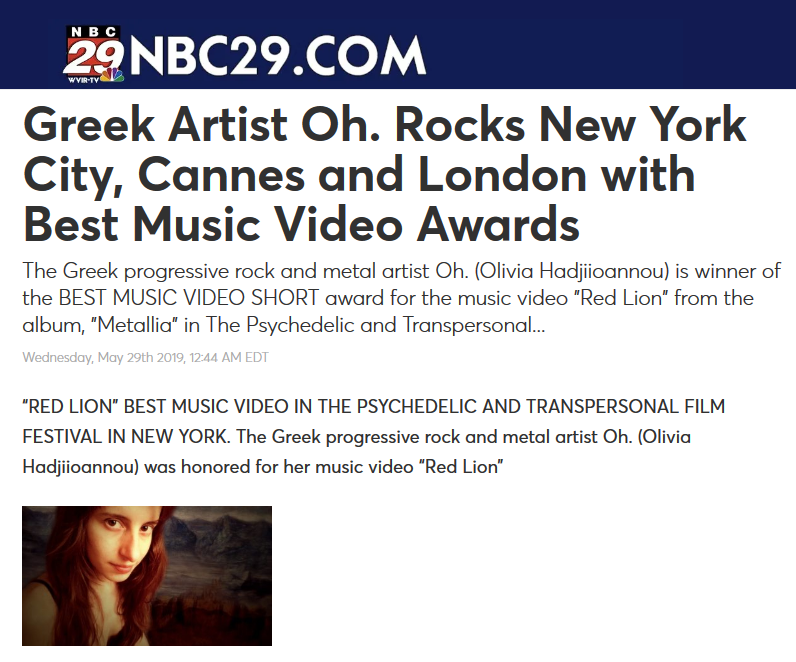 Greek Artist Oh Rocks New York City, Cannes and London with Best Music Video Awards